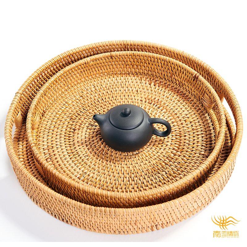 歐式果盤茶托盤水果食品圓形干泡茶盤托盤家用客廳竹製收納籃酒店 W4FJ