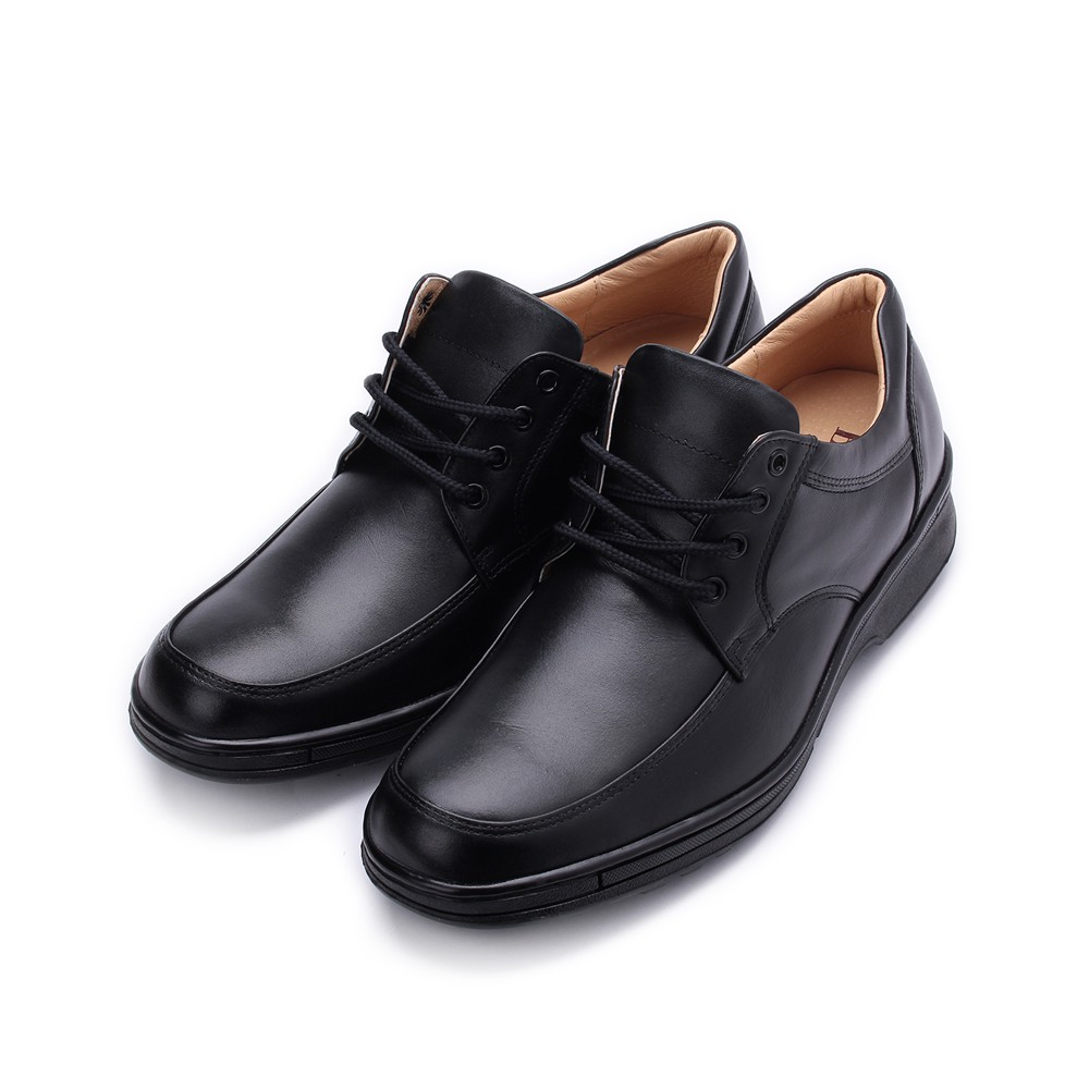 BONJO 特大尺碼真皮綁帶氣墊休閒鞋 黑 男鞋 鞋全家福