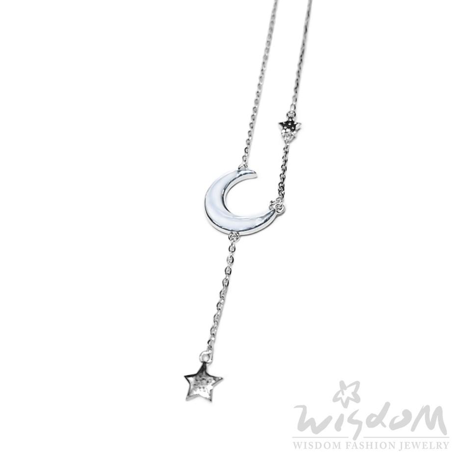 威世登 珍珠貝星月純銀套鍊(白) SB00221-ACEX