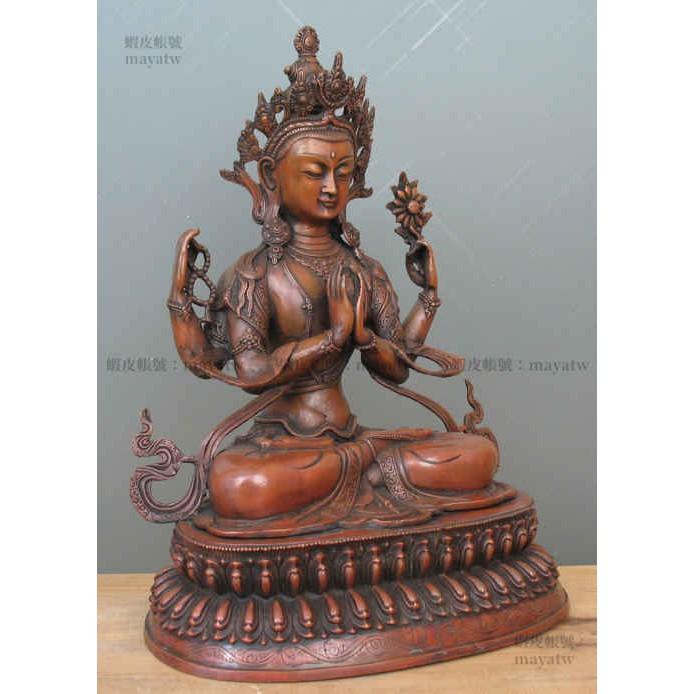 (RELI-G_052)藏密可裝藏雙蓮臺藏傳佛教一尺半大號觀音菩薩四臂觀音銅佛像