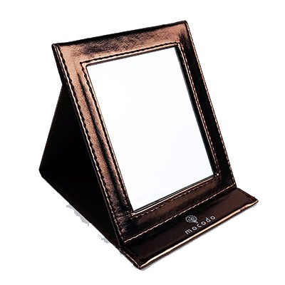 mocodo-極緻金質感皮質三折鏡 鏡子 化妝鏡 美容鏡 摺疊鏡 梳妝 立鏡 補妝 多角度鏡