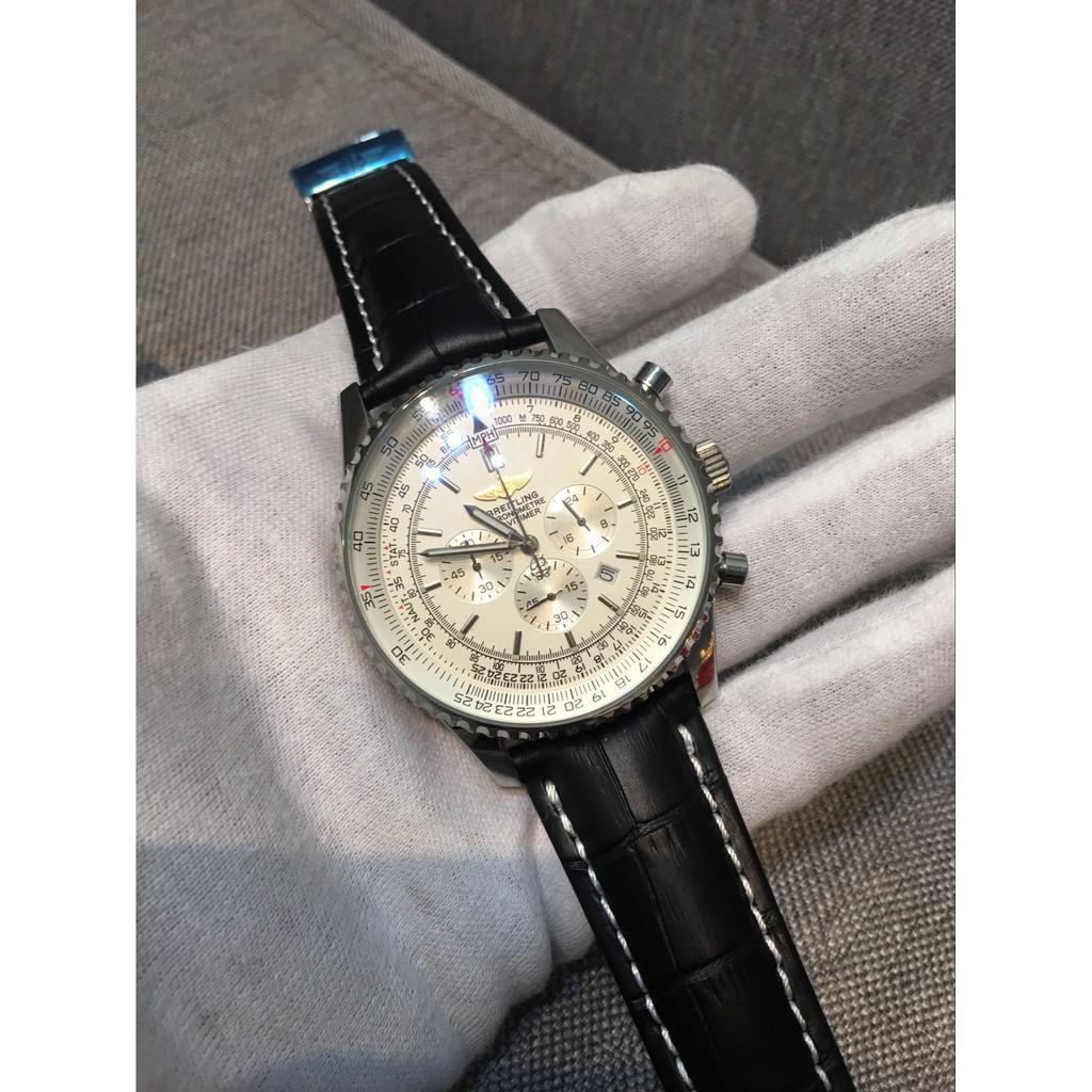 時尚 Breitling 百年靈男士精品腕錶 石英白底計時手錶583549571➒➓