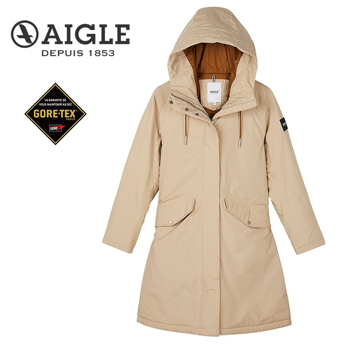 【AIGLE 法國】ATINES GORE-TEX 防水保暖外套 防水外套 女款 卡其色 (AG-0A203-A150)