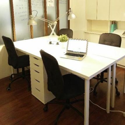 超新二手 Ikea 雙人工作電腦桌 Linnmon桌面 200×60cm + Godvin桌腳70cm(Alex抽屜櫃)