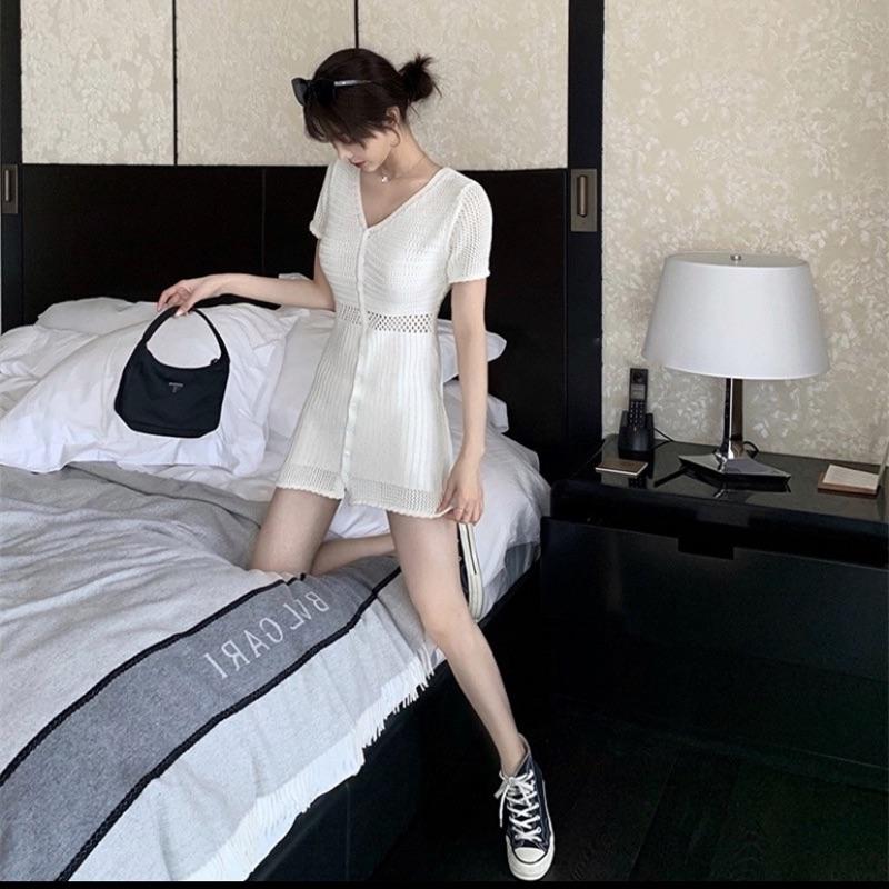 法式針織質感短袖洋裝