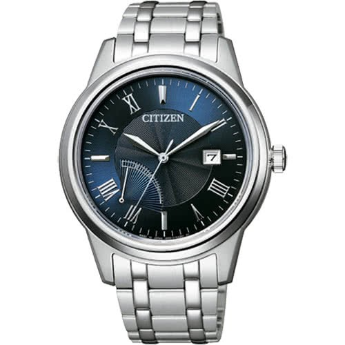 【CITIZEN 星辰】Eco-Drive 波紋時尚光動能不鏽鋼腕錶/藍(AW7001-98L)