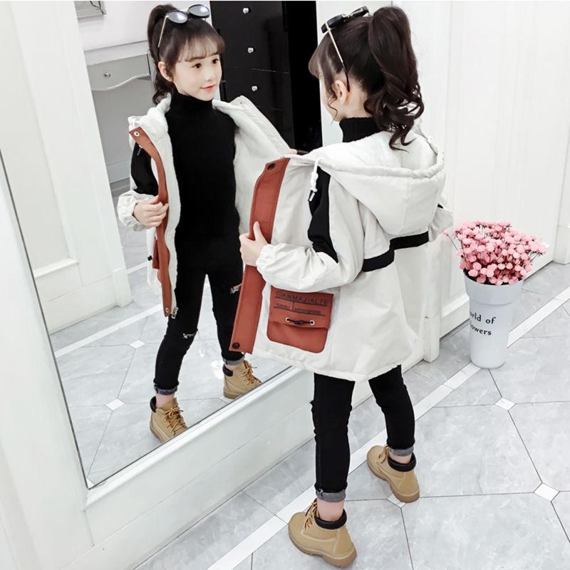 現貨 童裝 外套 兒童外套 羽絨外套 棉質外套 男童女童 秋冬加絨加厚 2020新款中大兒童裝洋氣風衣 小女孩夾棉外套