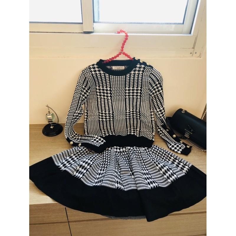 全新法式小香風上衣+裙子套裝(韓國製)