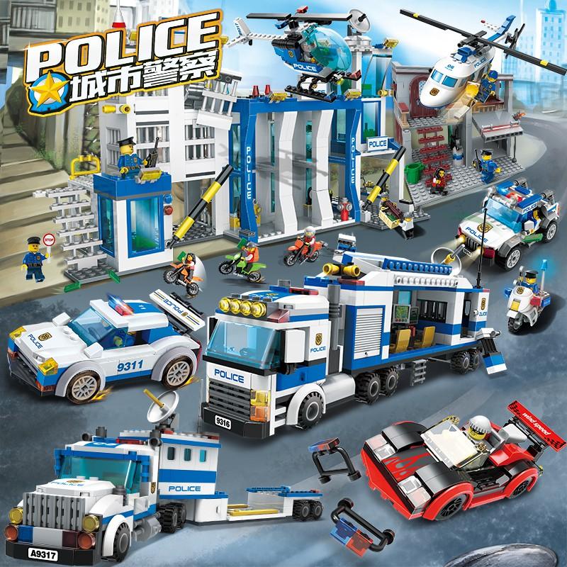 【城市系列】城市系列警察局拼裝圖車玩具兒童男孩子女孩兼容樂高6-12歲積木