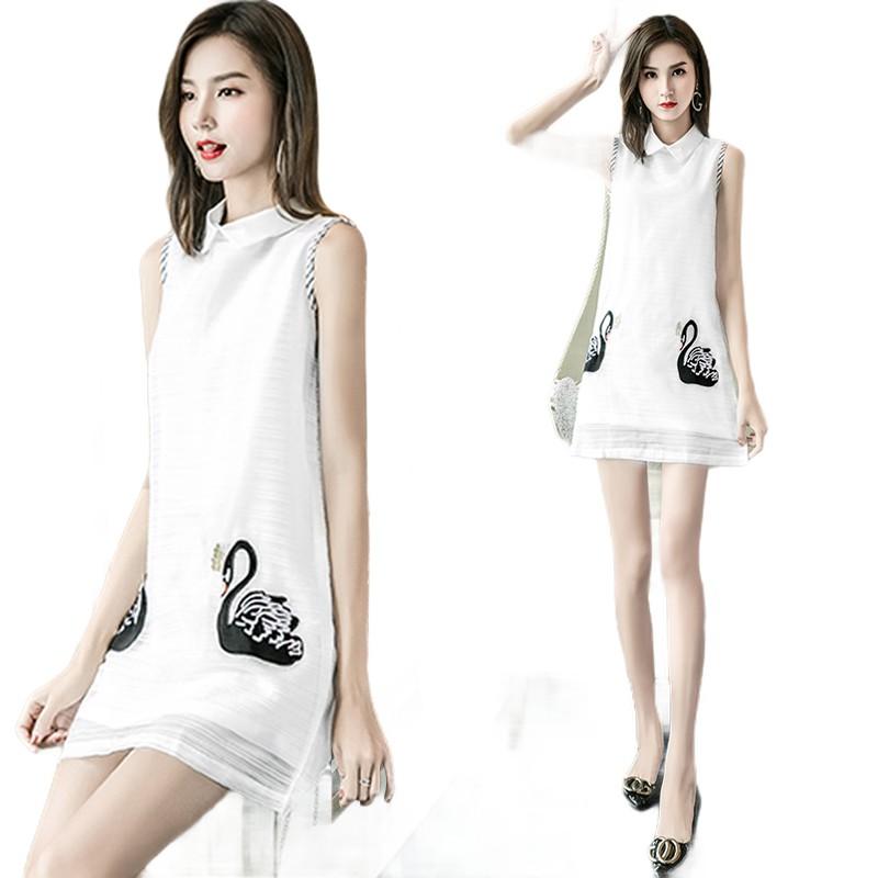 ♟♝2020年新款雪紡小個子修身白色氣質連衣裙