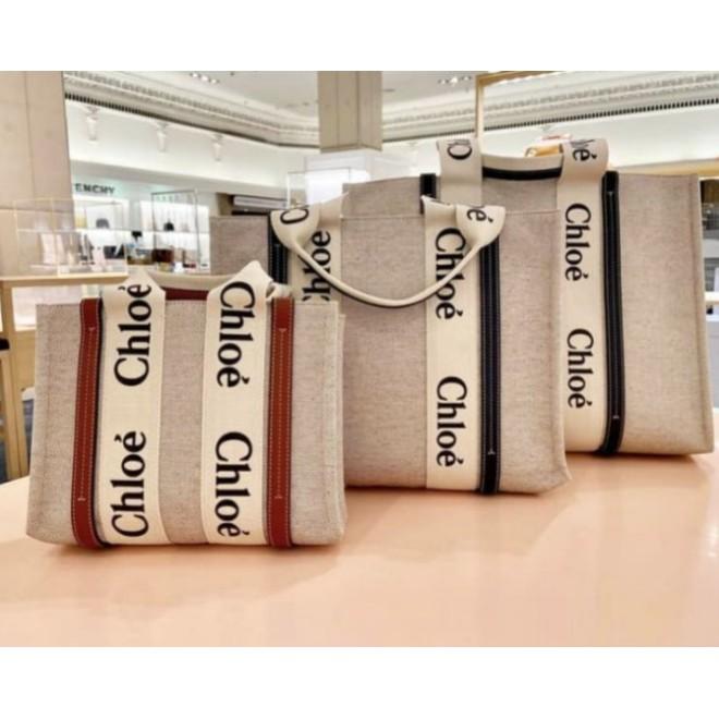 全新Chloe(蔻依) 爆款 字母 Woody Tote Bag 帆布 購物包 托特包 中型 深藍色 現貨