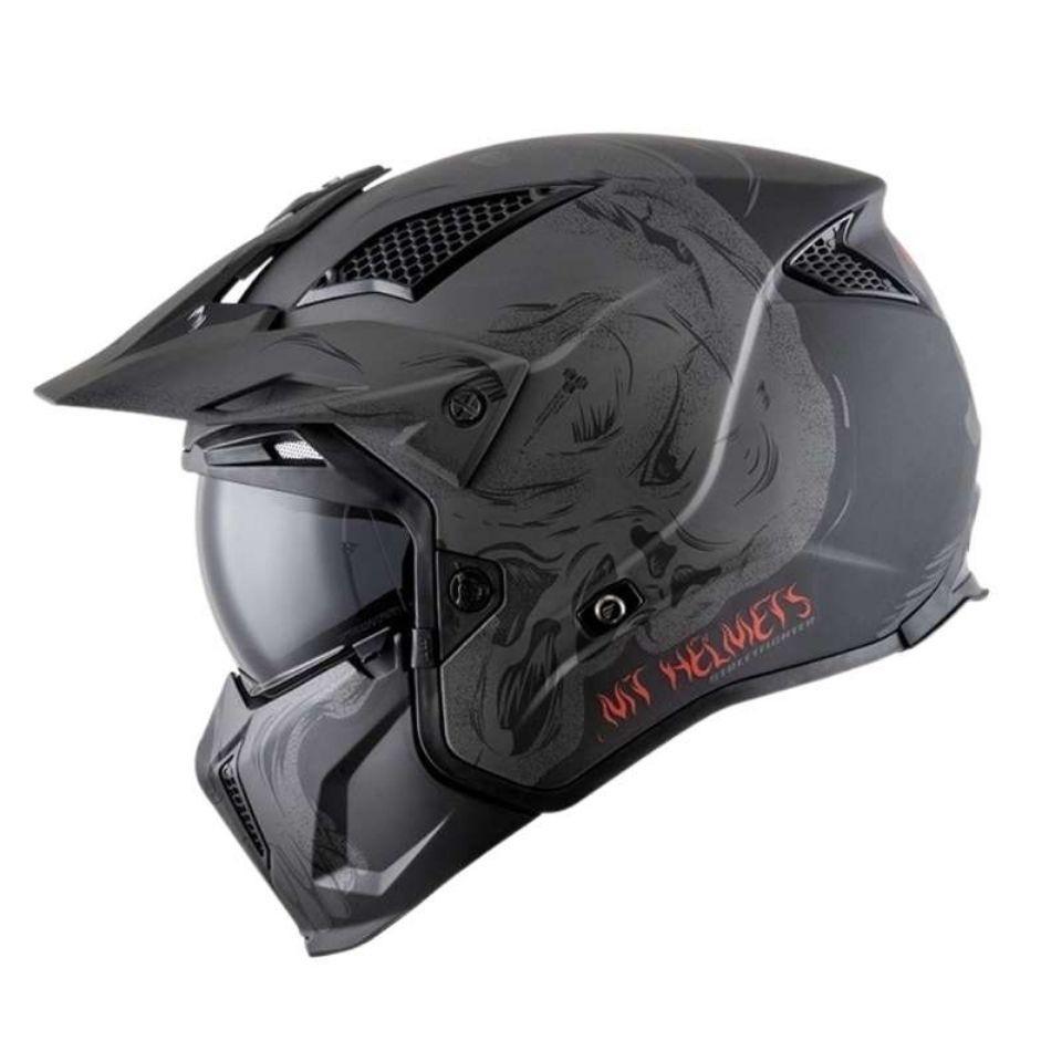 摩托車頭盔 越野頭盔 安全帽 機車頭盔 西班牙MT街霸摩托車頭盔個性酷全盔四季復古組合盔機車越野半盔