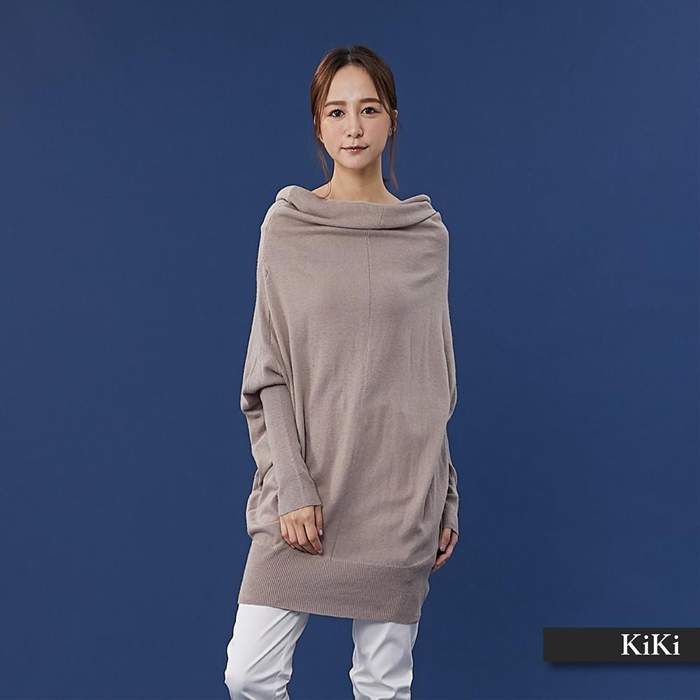 【KiKi】素色飛鼠袖造型-針織衫(二色)
