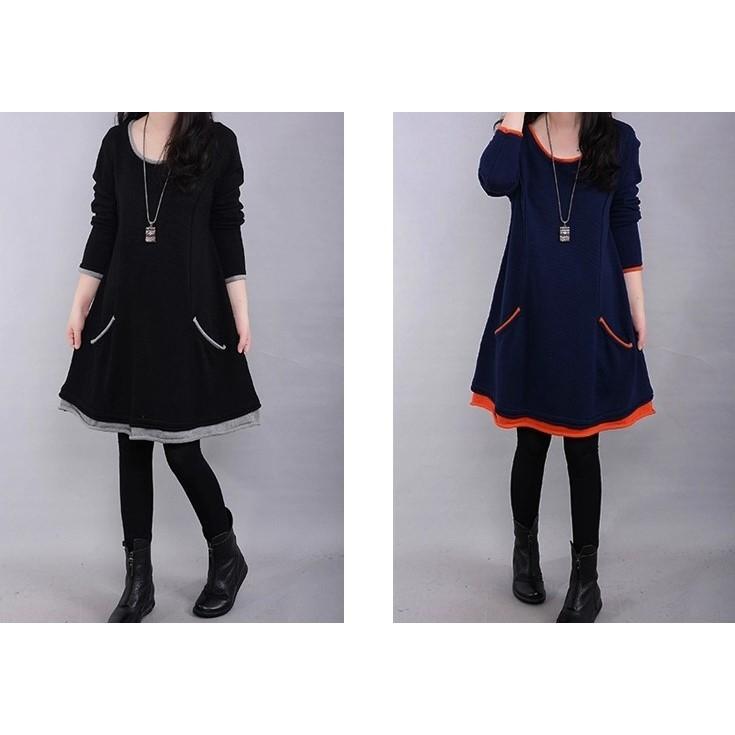 L~4XL-加絨寬鬆洋裝