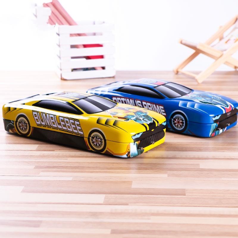 變形金剛文具盒 大黃蜂筆盒 兒童鐵筆盒 三層文具盒 汽車造型鉛筆盒