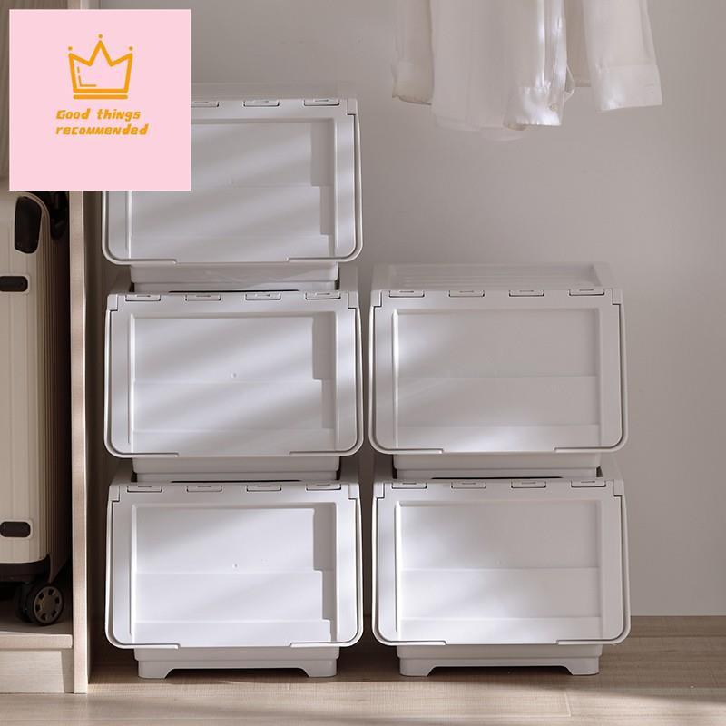 ✿翻蓋式收納箱✿熱賣 前開式客廳雜物收納箱 臥室衣物整理儲物盒透明翻蓋斜口箱疊加