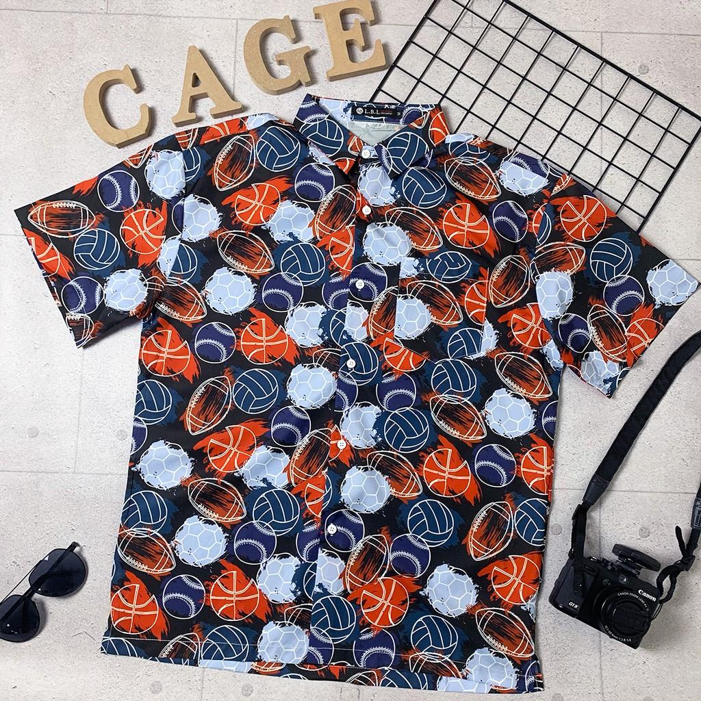【C'age】滿版運動球類滑面襯衫-黑 62509