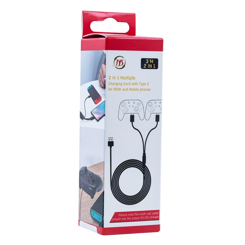 JYS 二合一充電線 兼容PS5/Xbox Series X/Nintendo Switch/Mobile Phone