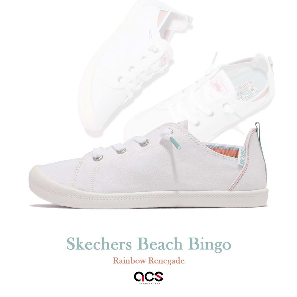 Skechers 休閒鞋 Beach Bingo Bobs 白 小白鞋 女鞋 帆布鞋【ACS】 113998-WHT