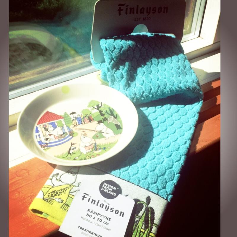 芬蘭嚕嚕米moomin餐盤+Finlayson浴巾夏季限定款