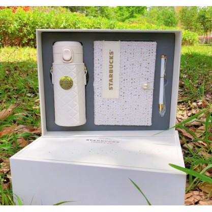 中國星巴克 小香風鏈條保溫瓶  純白355ml保溫杯 帶筆記本 筆  帶禮盒套裝 現貨24小時之內出貨