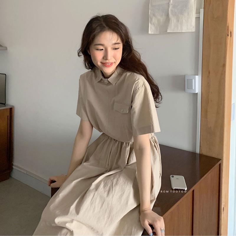 43880 小翻領設計款純色簡約收腰百搭顯瘦棉麻短袖連衣裙洋裝