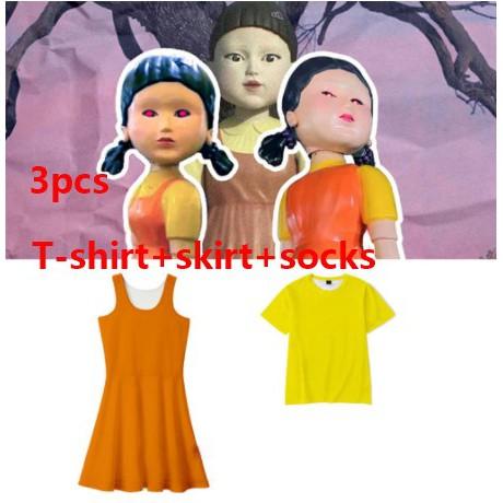 【T賉+裙子】 萬聖節服裝 魷魚遊戲123木頭人女孩鬼衣服 大人小孩角色扮演服裝女孩禮服面具套裝萬聖節角色扮演服裝派對