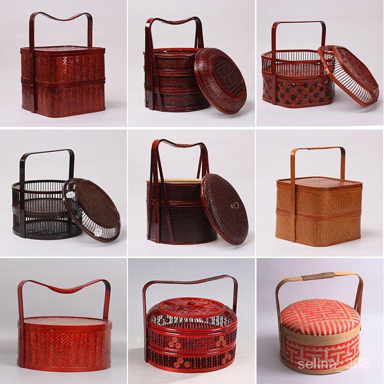 台灣熱賣 竹編仿古提籃 月餅籃 送飯籃 水果籃 竹製食盒 紅色婚慶禮品籃 FSIG