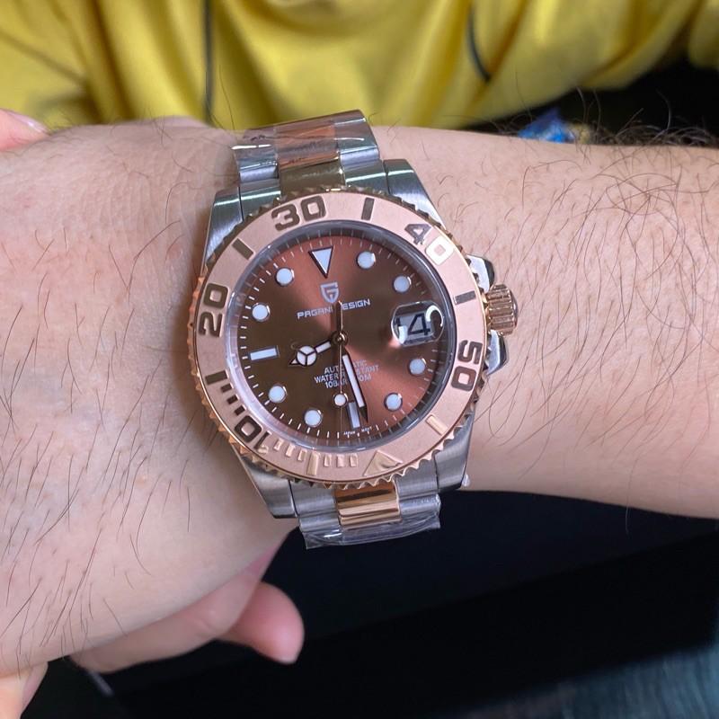 PAGANI DESIGN 帕加尼 巧克力遊艇款機械錶 中玫瑰金錶帶