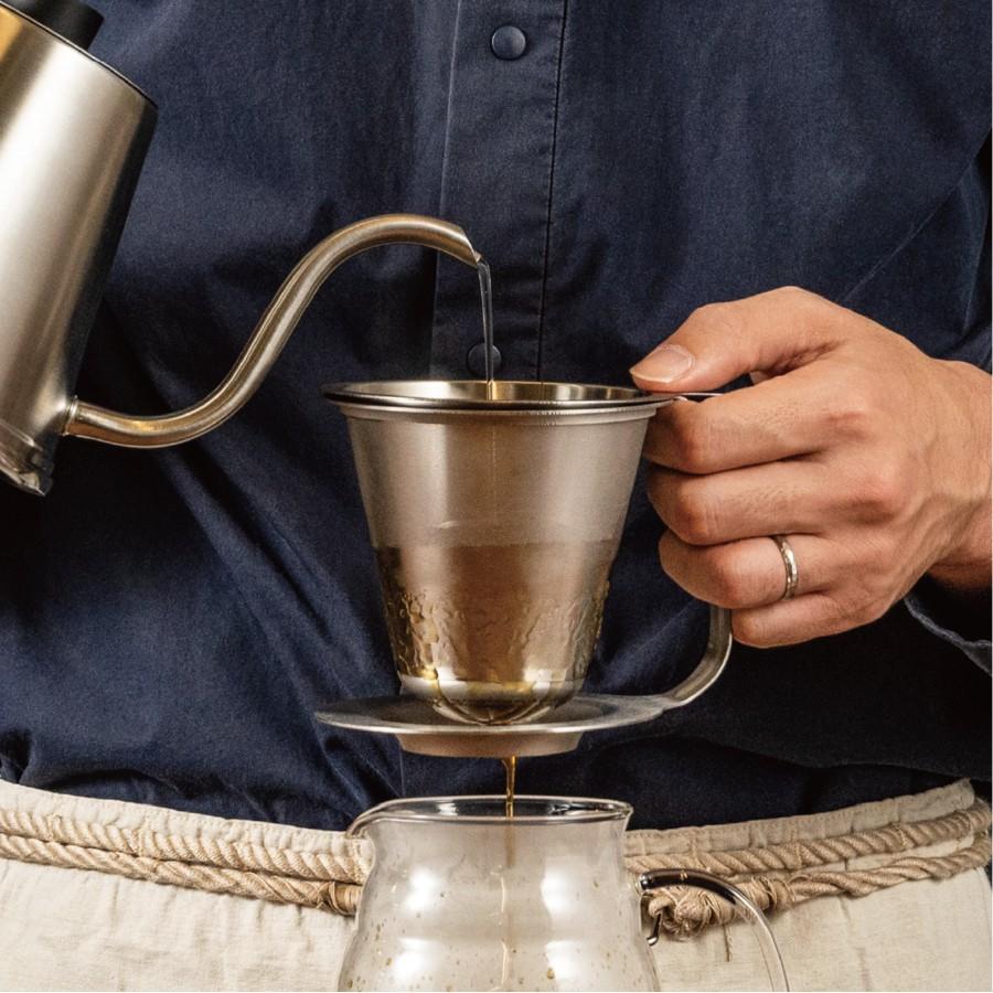 HARIO 世界冠軍粕谷哲聯名 雙層不鏽鋼手沖咖啡濾杯 KDD-02-HSV / Kasuya Model / 手沖濾杯