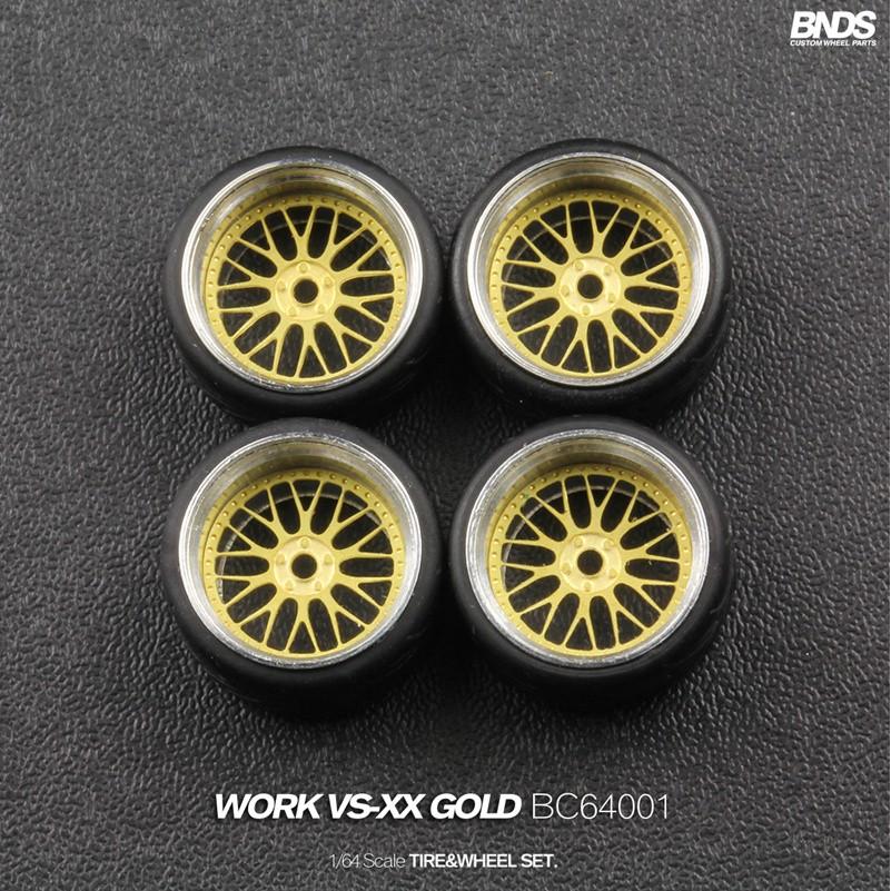 ♈1/64 改裝輪胎 BNDS 合金輪殼 輪罩蝕刻片 無紋輪胎 4顆裝 金色/銀色 BC64001-48全系列 9mm