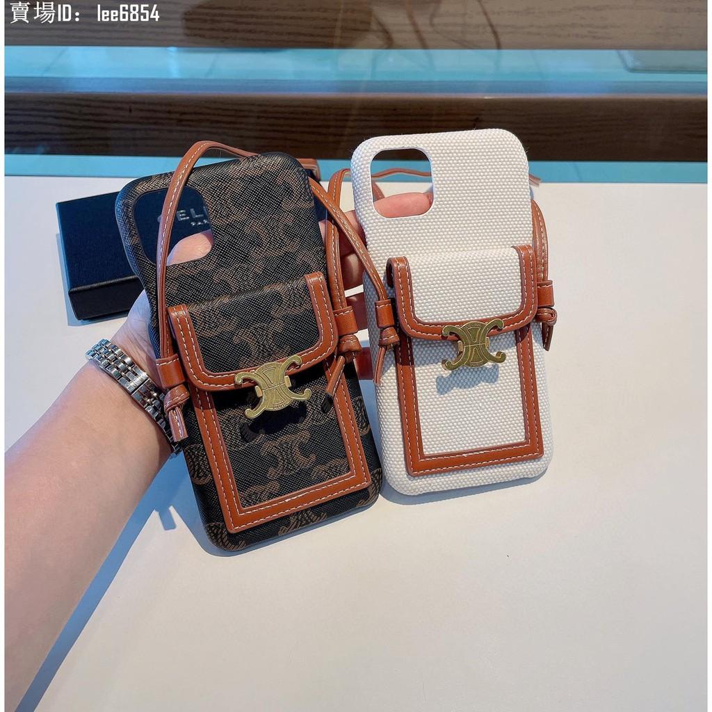 正品 二手 celine賽琳 21新款手機殼 卡包手機殼三包殼 可支架 帶掛繩可斜挎可掛脖 11pro手機殼