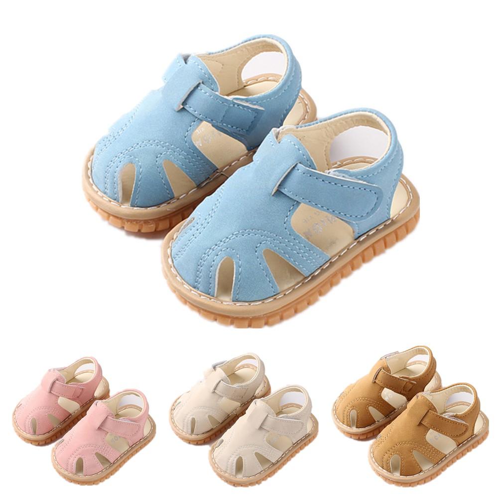 嬰兒涼鞋包頭防踢涼鞋叫叫鞋軟底童鞋兒童涼鞋發聲童鞋寶寶涼鞋嬰兒鞋軟底學步鞋