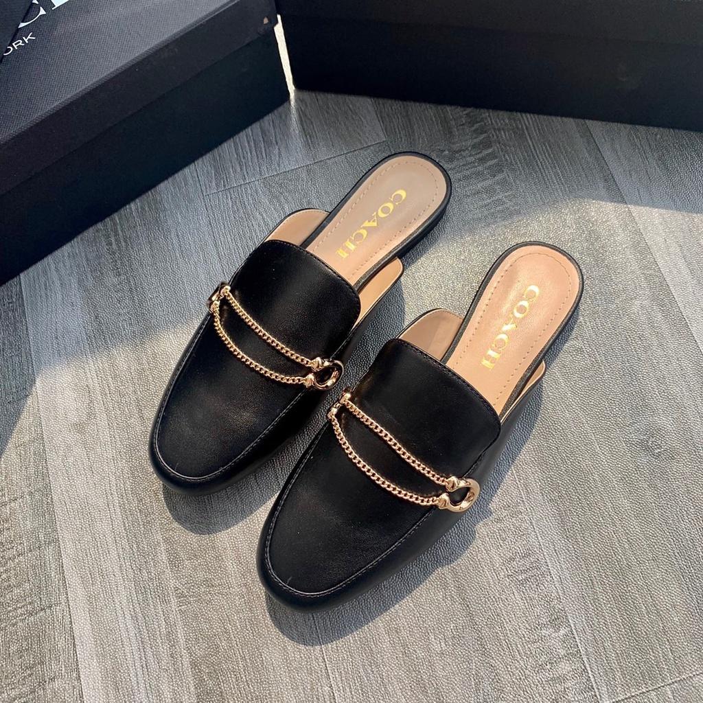 Coach蔻馳奧萊正品sawyer穆勒拖鞋夏季新款時尚百搭外穿拖鞋真皮拖鞋 帆布拖鞋平底女鞋