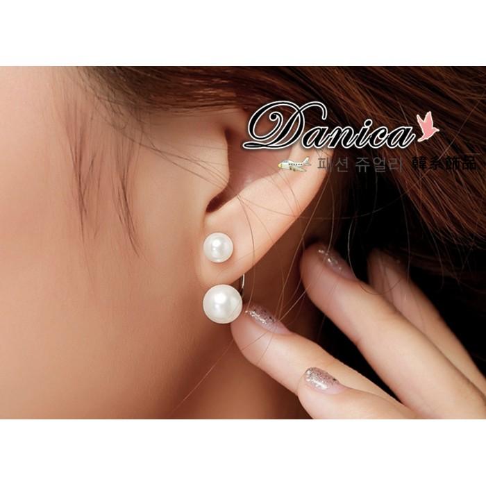 耳環 現貨 韓國宋慧喬 同款 極致 珍珠 後掛式 2用 925銀針 耳針 K91148 Danica 韓系飾品 韓國連線