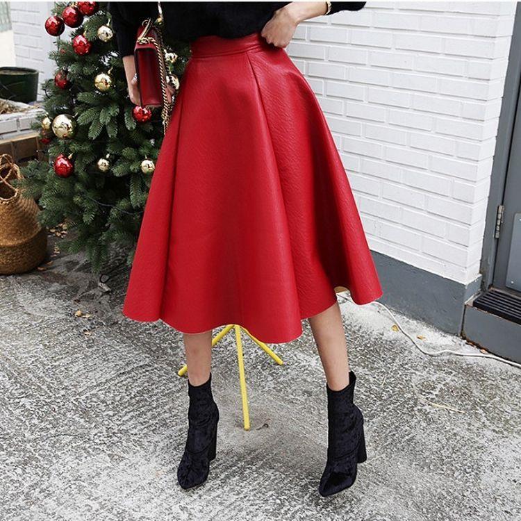 秋季新款長裙 進口PU皮大擺A字款高腰紅色中長款半身裙ZC17-18