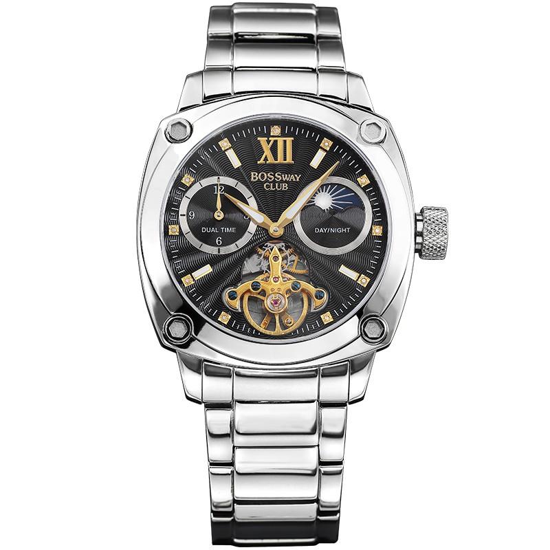 【BOSSWAY】英倫名仕飛輪機械錶(黑-46mm)