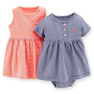 Carter's 卡特 特價促銷 美國正品 套裝 深藍條紋洋裝+粉橘色小花洋裝+內褲 三件組 女