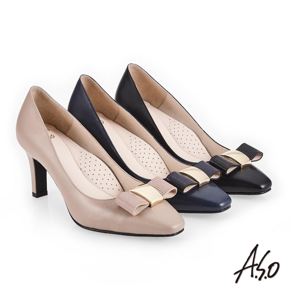 【A.S.O阿瘦】義式簡約 優雅蝴蝶結釦高跟鞋-卡其/深藍/黑