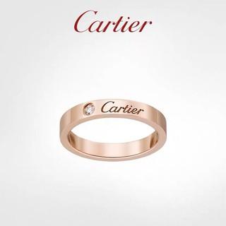 經典 Cartier/ 卡家簽名款戒指 18K玫瑰金 鑲鑽男女情侶對戒婚戒