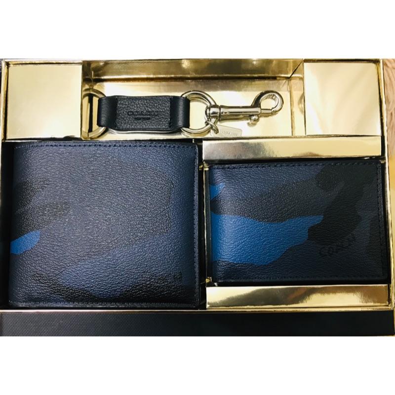 正貨 Coach限量迷彩藍短夾禮盒