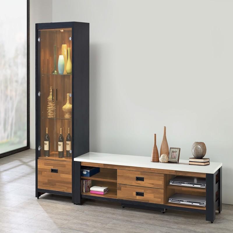 【SA204-1】 雙色積層木8尺L型櫃