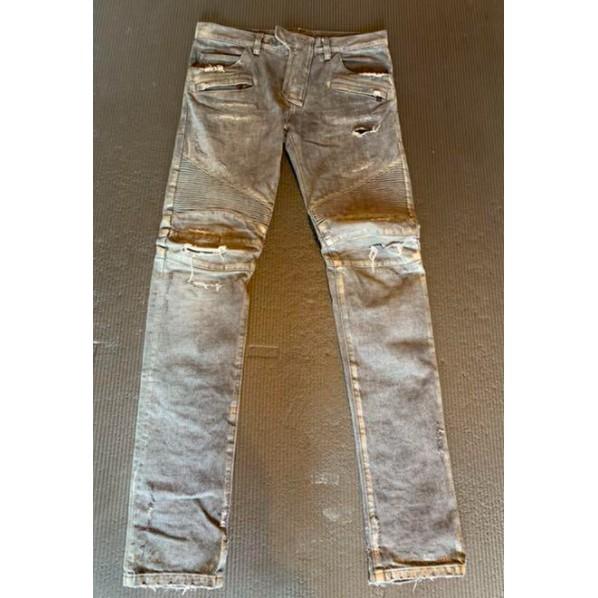 Balmain homme 灰破壞水洗機車牛仔褲