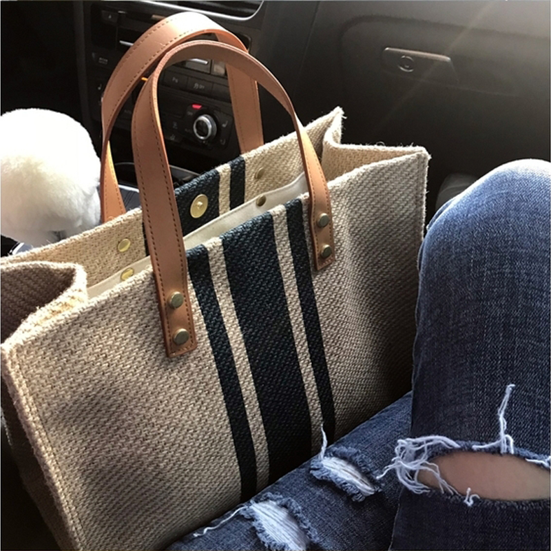 現貨 韓版女士手提公文包職業通勤條紋簡約單肩大包包ins大容量帆布包