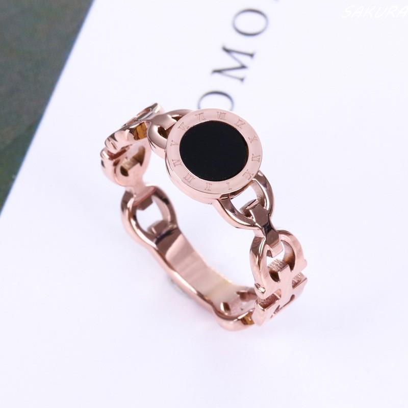新款羅馬數字戒指 鈦鋼玫瑰金鏤空戒指 女生指環