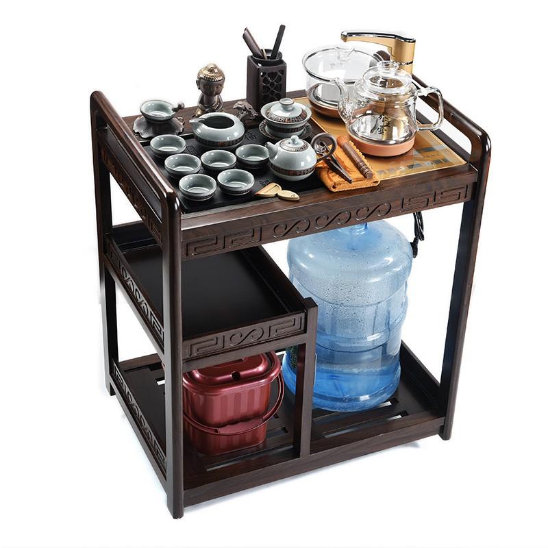 現貨黑檀實木茶車帶輪移動茶臺茶水柜全自動玻璃燒水功夫茶具套裝家用