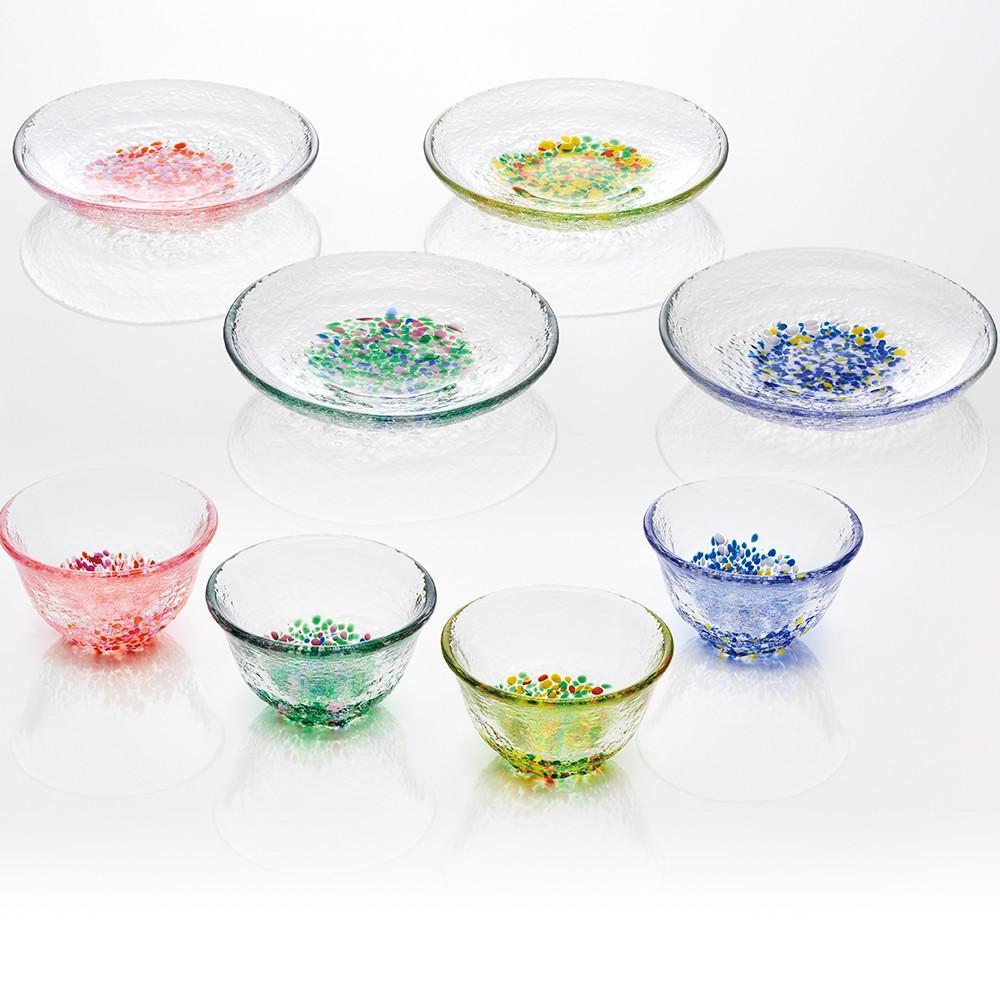【日本廣田硝子】春之舞杯碟組-共4色《拾光玻璃》 玻璃杯 杯盤組 小碟子