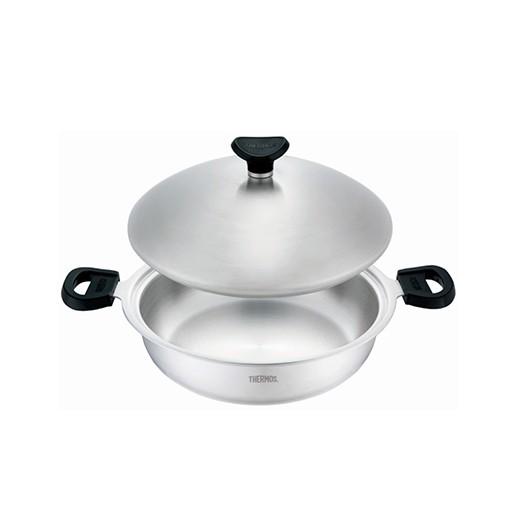 THERMOS膳魔師 K22A-F28 原味鍋 雙耳平底鍋28cm 316不銹鋼鍋炒菜鍋/火鍋 台灣製