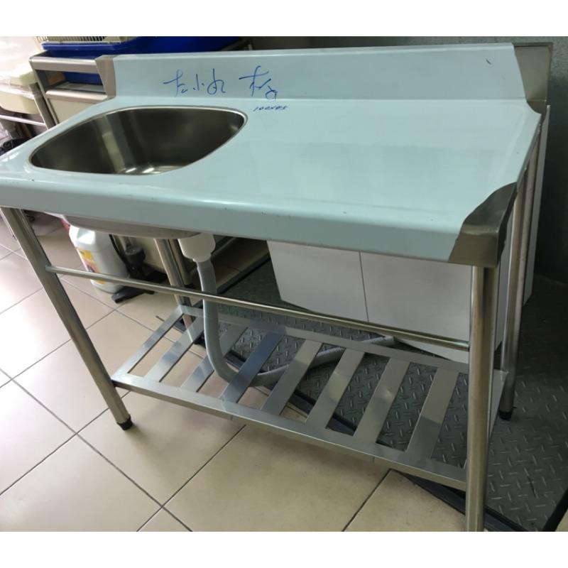 不銹鋼水槽、100*45cm水槽平台(水槽有分左右)