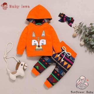 ZZ-秋季男嬰女孩休閒裝長袖動物印花連帽運動衫+幾何